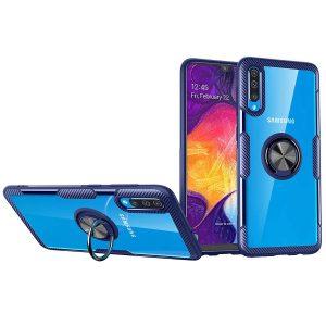 Чехол TPU+PC Deen CrystalRing с креплением под магнитный держатель для Samsung Galaxy A50 / A30s 2019 — Синий