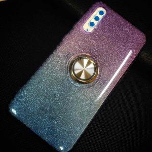 Cиликоновый чехол c кольцом и блестками для Samsung Galaxy A30s 2019 (A307) / A50S (A507) – Violet / Blue