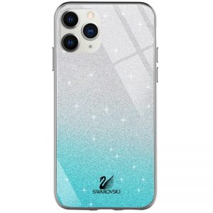 Чехол с блестками Swarovski TPU+Glass для Iphone 11 Pro – Бирюзовый