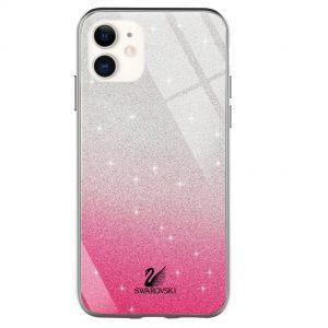 Чехол с блестками Swarovski TPU+Glass для Iphone 12 Mini – Малиновый