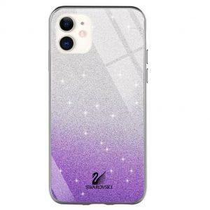 Чехол с блестками Swarovski TPU+Glass для Iphone 12 Mini – Фиолетовый