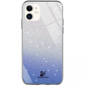Чехол с блестками Swarovski TPU+Glass для Iphone 12 Mini – Синий