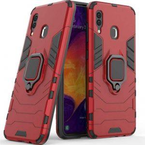 Ударопрочный чехол Transformer Ring под магнитный держатель для Samsung Galaxy M20 — Красный