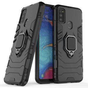Ударопрочный чехол Transformer Ring под магнитный держатель для Samsung Galaxy M30s / M21 — Черный