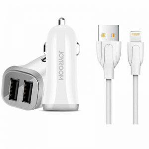 Автомобильное зарядное устройство Joyroom C-M 216 + кабель Lightning (2USB / 3.1A) – White