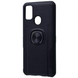 Ударопрочный чехол Leather Design With Ring (PC+TPU) под магнитный держатель для Samsung Galaxy M30s (M307F) — Черный