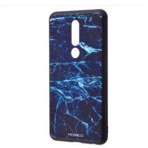 TPU+Glass чехол Monaco Case с рисунком для Meizu M8 – Синий мрамор