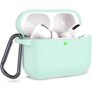 Чехол для наушников Silicone Case + карабин для Apple Airpods Pro – Mint
