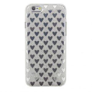 Силиконовый TPU чехол Сердечки для Iphone 6 Plus / 6s Plus -Серебро