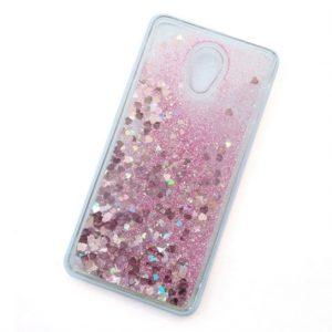 Чехол TPU Liquid hearts для Meizu Pro 6 – Розовый
