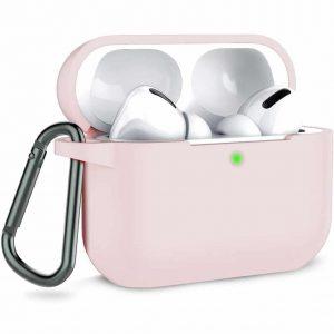 Чехол для наушников Silicone Case + карабин для Apple Airpods Pro – Pink Sand