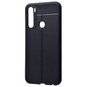 TPU чехол фактурный (с имитацией кожи) для Xiaomi Redmi Note 8T – Черный