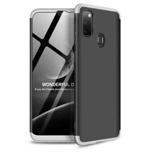 Матовый пластиковый чехол GKK 360 градусов для Samsung Galaxy M30s (M307F) – Черный / Серебряный