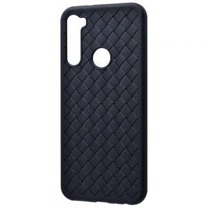 Силиконовый TPU чехол SKYQI плетеный под кожу для Xiaomi Redmi Note 8 – Черный
