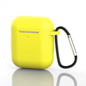 Чехол для наушников Silicone Case New + карабин для Apple Airpods 1/2 – Yellow