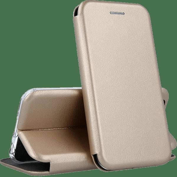 Кожаный чехол-книжка 360 с визитницей для Xiaomi Redmi 8 / 8A – Золотой