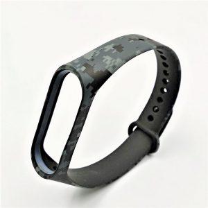 Ремешок для фитнес-браслета Xiaomi Mi Band 3 / 4 – Camouflage Pixel Black / Gray