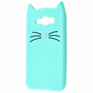 Силиконовый чехол 3D Cat для Samsung Galaxy J7 / J7 Neo – Бирюзовый