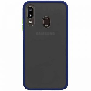 Чехол TPU+PC Soft-touch with Color Buttons для Samsung Galaxy A20 / A30 2019 – Синий