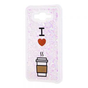 TPU+PC чехол Lovely Stream с переливающимися блестками для Samsung Galaxy J7 / J7 Neo – I love coffee