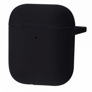 Чехол для наушников Silicone Case New + карабин для Apple Airpods 1/2 – Black
