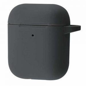 Чехол для наушников Silicone Case New + карабин для Apple Airpods 1/2 – Dark gray