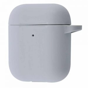 Чехол для наушников Silicone Case New + карабин для Apple Airpods 1/2 – Gray