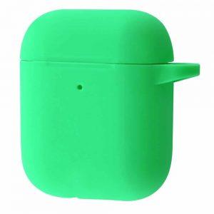 Чехол для наушников Silicone Case New + карабин для Apple Airpods 1/2 – Green