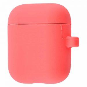 Чехол для наушников Silicone Case Slim + карабин для Apple Airpods – Pink