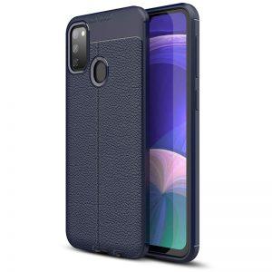TPU чехол фактурный (с имитацией кожи) для Samsung Galaxy M30s / M21 – Blue