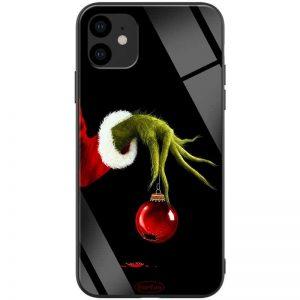 TPU+Glass чехол ForFun для Iphone 11 – Гринч и елочная игрушка / Черный