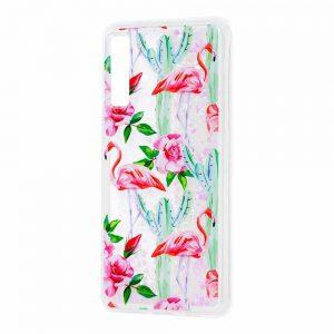 TPU+PC чехол Lovely Stream с переливающимися блестками для Samsung Galaxy A7 2018 A750 – Flamingo and cactus