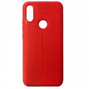 TPU чехол фактурный (с имитацией кожи) для Huawei Y6 2019 – Красный