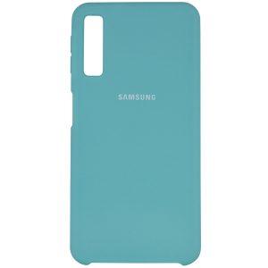 Оригинальный чехол Silicone Case с микрофиброй для Samsung Galaxy A7 2018 A750 – Голубой / Marine Green
