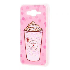TPU+PC чехол Lovely Stream с переливающимися блестками для Samsung Galaxy J7 / J7 Neo – Ice cream coffee pink