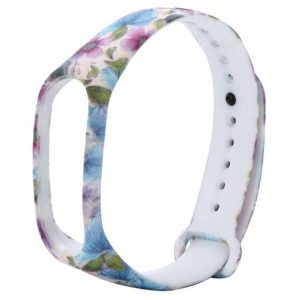 Ремешок для фитнес-браслета Xiaomi Mi Band 3 / 4 – Pink / Blue Flowers