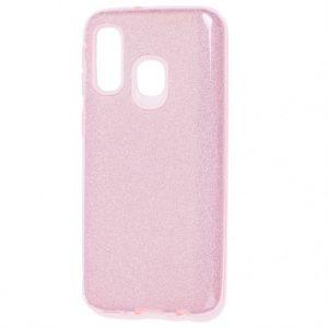 Cиликоновый (TPU+PC) чехол Shine с блестками для Samsung Galaxy A40 2019 (A405) – Розовый
