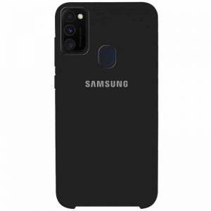 Оригинальный чехол Silicone Case с микрофиброй для Samsung Galaxy M30s (M307F) – Черный / Black