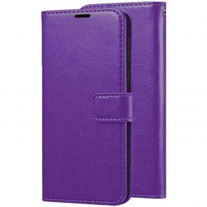 Кожаный чехол-книжка Wallet Glossy с визитницей для Samsung Galaxy A40 2019 (A405) – Фиолетовый