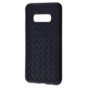 Силиконовый TPU чехол SKYQI плетеный под кожу для Samsung Galaxy S10e (G970) – Черный
