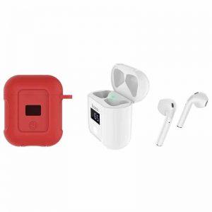 Беспроводные наушники Hoco S11 + красный чехол – White