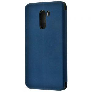 Кожаный чехол-книжка 360 с визитницей для Xiaomi Pocophone F1 – Dark blue