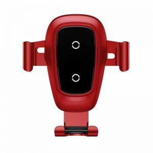 Автомобильный держатель Wireless Charger Baseus Metal Gravity Car Mount (Air Outlet Version) 1.7A QC3.0 – Red