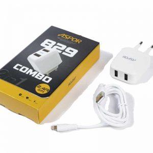 Сетевое зарядное устройство Aspor A829 + кабель Lightning 2.4A (1м) – White