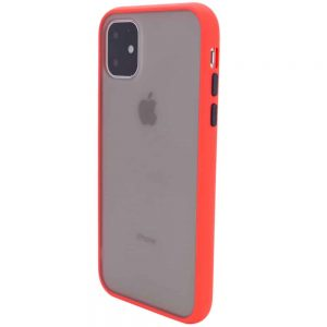 Чехол TPU+PC Soft-touch with Color Buttons для Iphone 11- Красный