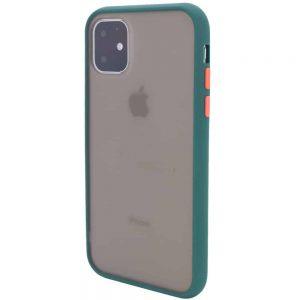 Чехол TPU+PC Soft-touch with Color Buttons для Iphone 11- Сине-Зеленый / Marine Blue