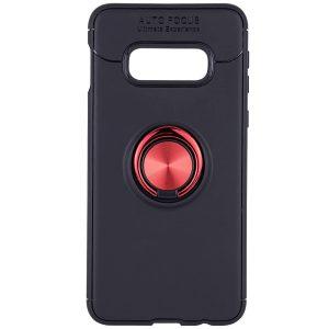 Cиликоновый чехол Deen ColorRing с креплением под магнитный держатель для Samsung Galaxy S10e (G970) – Черный / Красный