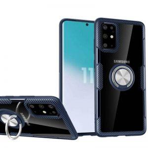 Чехол TPU+PC Deen CrystalRing с креплением под магнитный держатель для Samsung Galaxy S20 — Темно-синий