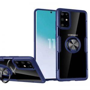 Чехол TPU+PC Deen CrystalRing с креплением под магнитный держатель для Samsung Galaxy S20 — Синий