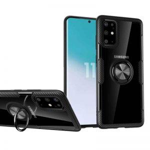 Чехол TPU+PC Deen CrystalRing с креплением под магнитный держатель для Samsung Galaxy S20 — Черный